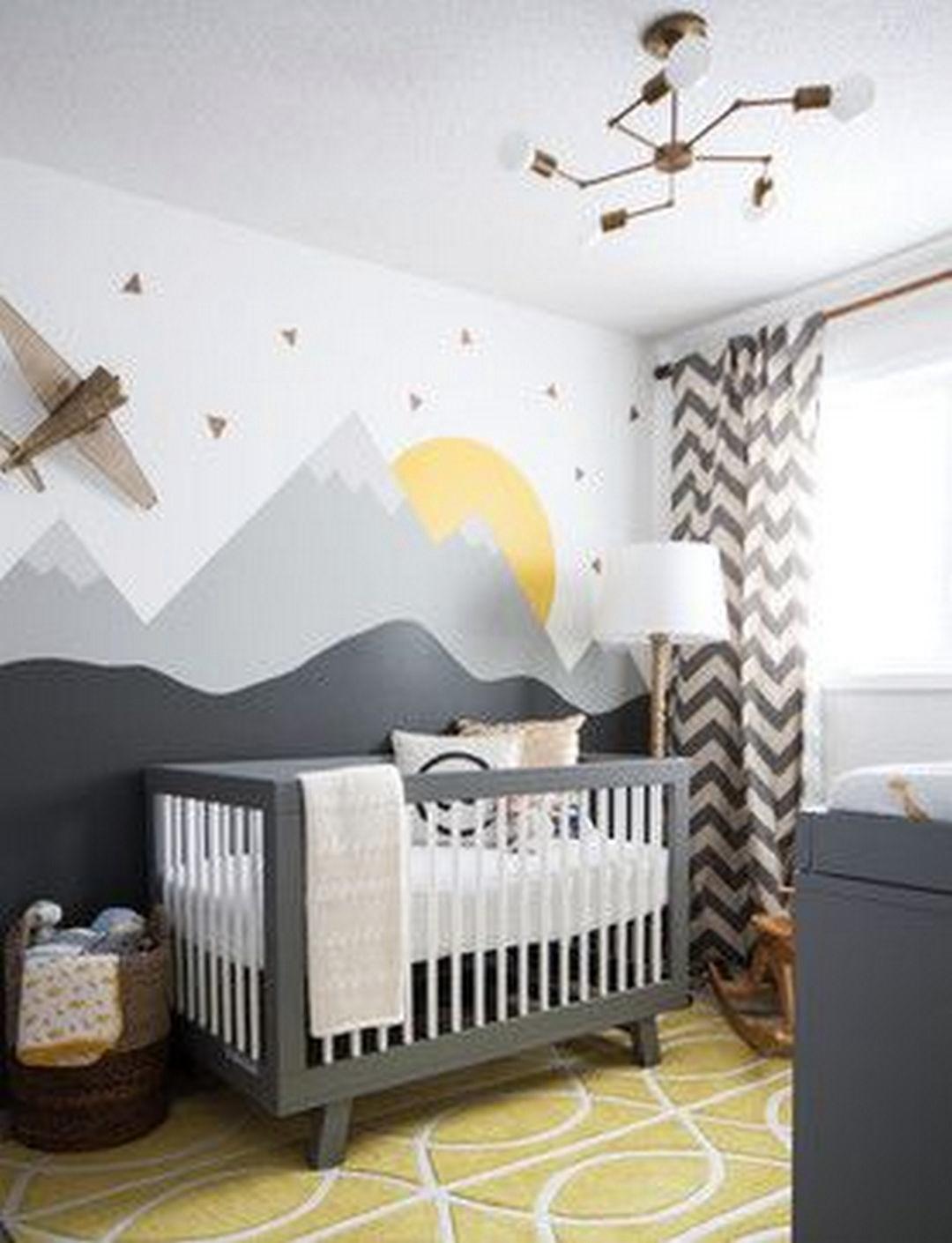 Peinture Chambre Bébé Jaune Et Gris adorable gender neutral kids bedroom interior idea (100