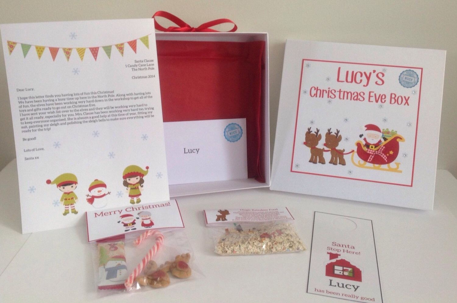 Personalised christmas eve box filled with door hanger sweets personalised christmas eve box filled with door hanger sweets reindeer food and letter from spiritdancerdesigns Image collections
