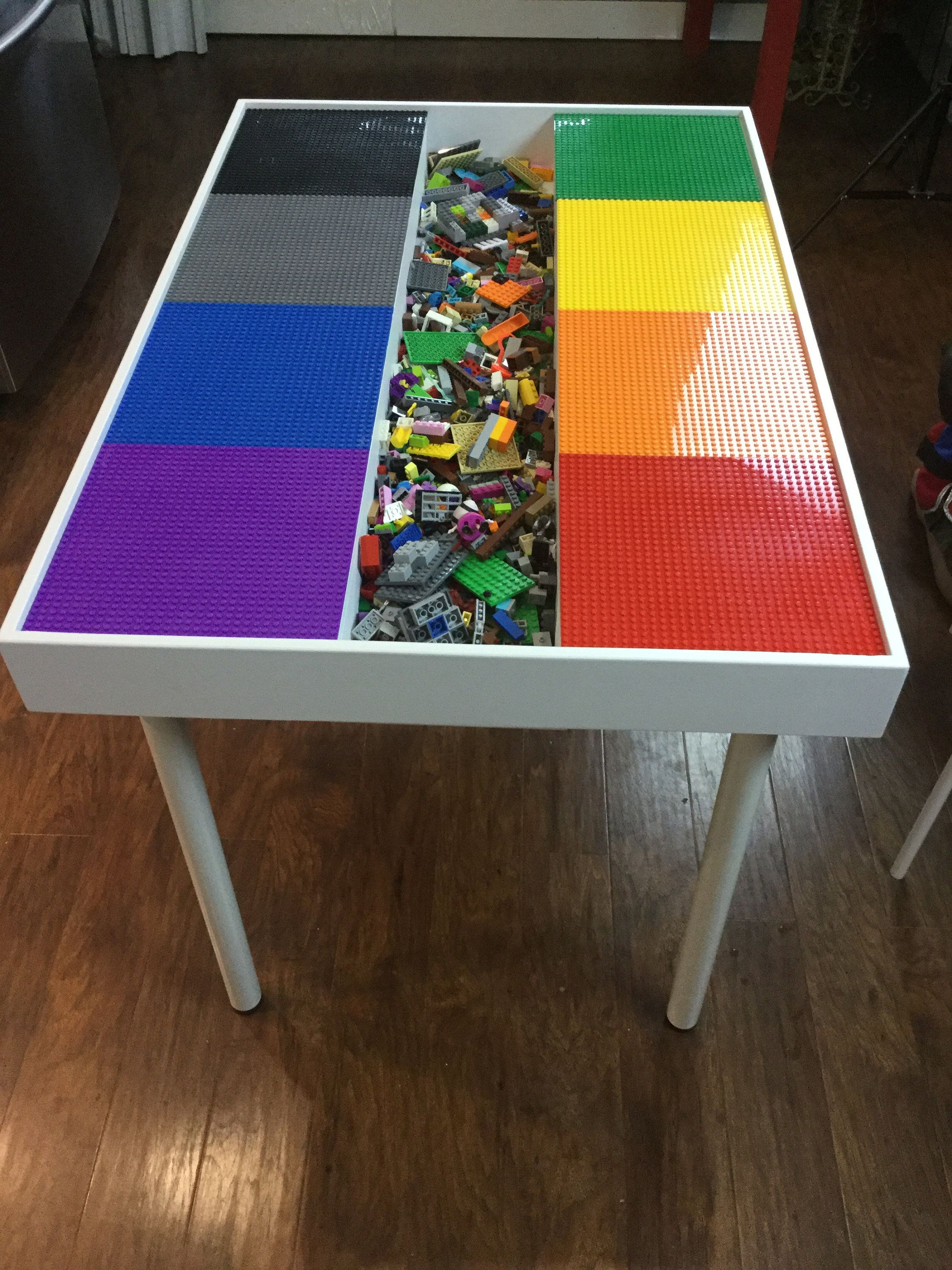 Tall large Building bricks table, kids building blocks table , kids large Lego Table, activity table, train table, Lego table with storage