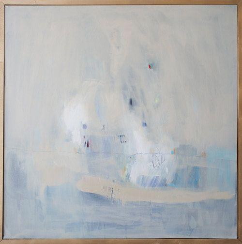 Azul y crema Resumen GICLÉE impresión giclée de pintura