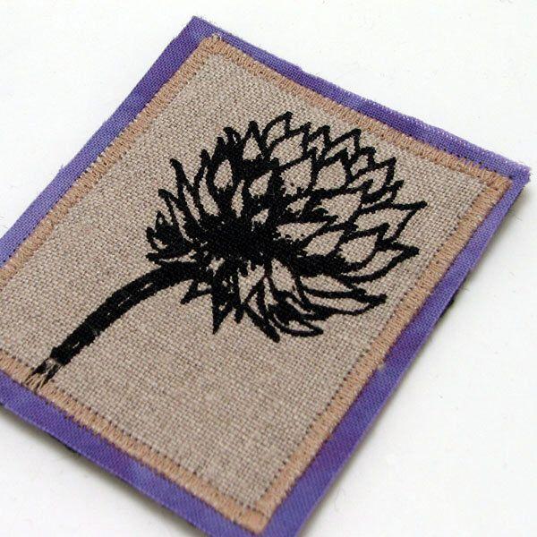 Flower brooch pin, wearable fiber art,clover flower pin, square brooch, purple, natural linen, screenprinted flower, coat jacket adornment by MorgenBardati on Etsy https://www.etsy.com/listing/94803308/flower-brooch-pin-wearable-fiber