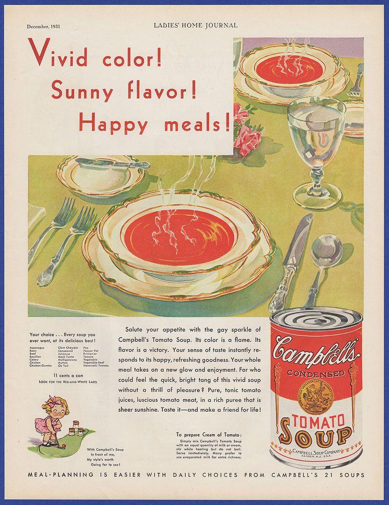 Details About Vintage 1931 Campbell S Tomato Soup Kitchen Art Decor