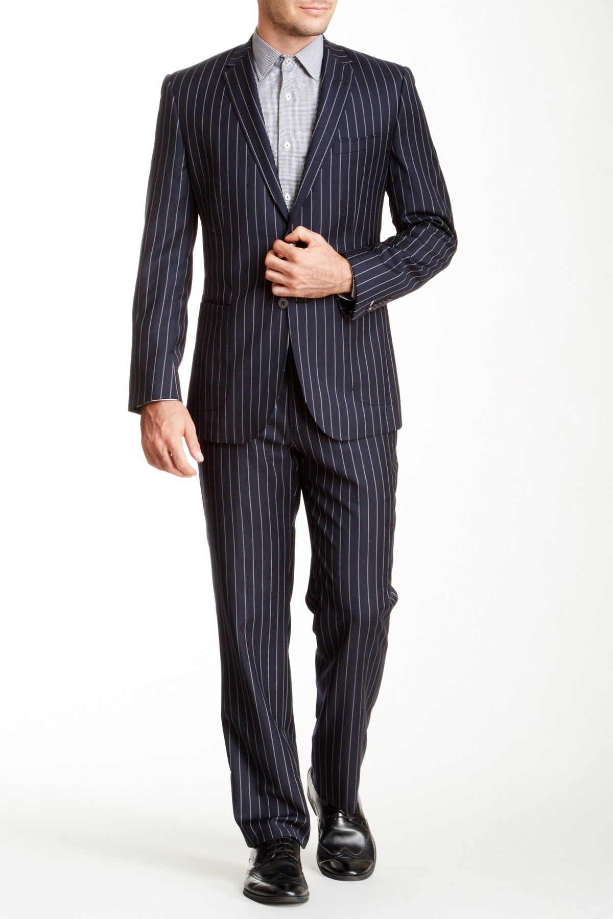 English Laundry Navy Pinstripe Two Button Notch Lapel Wool Suit By English Laundry On Hautelook Wool Suit Pinstripe Suiting [ 1800 x 1200 Pixel ]