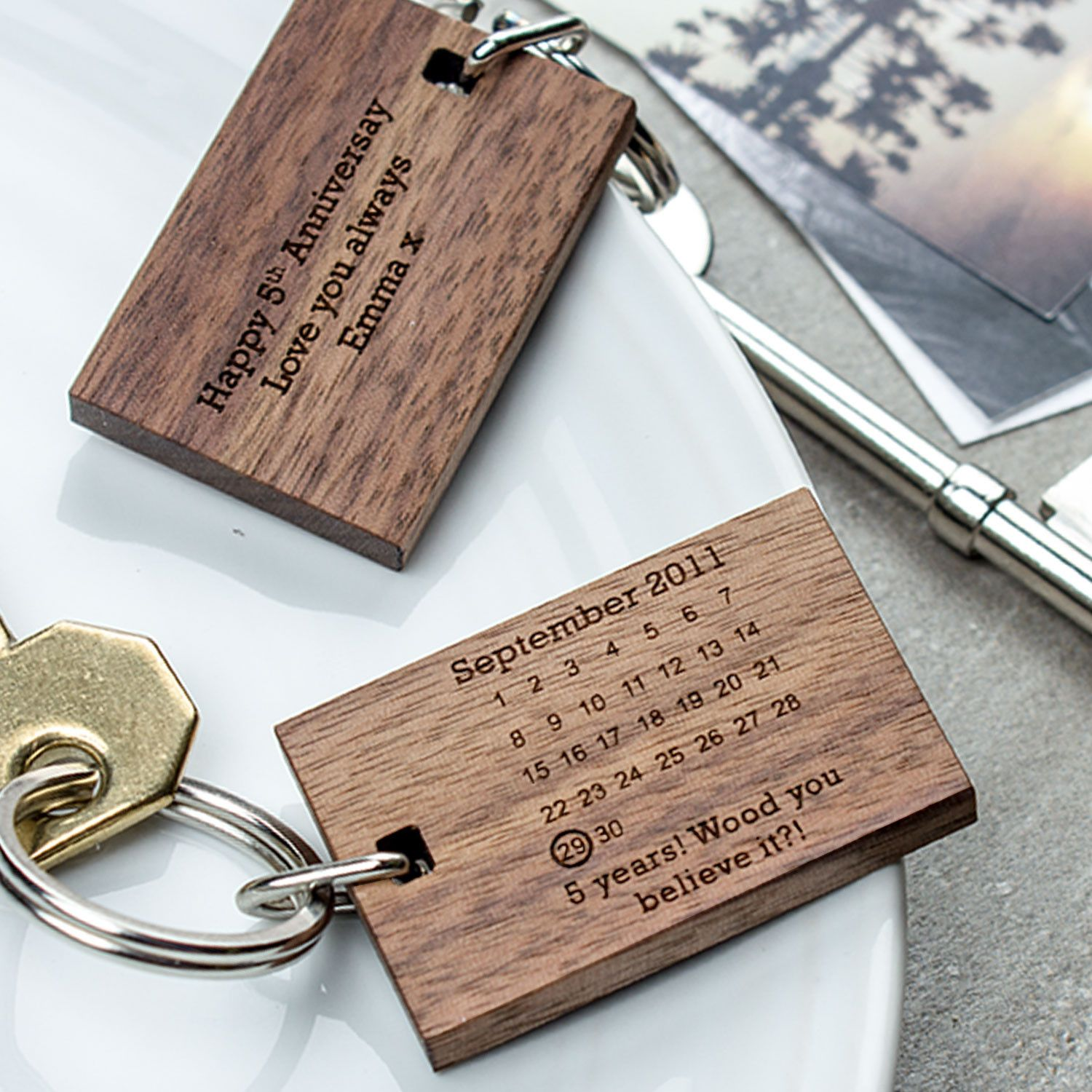Personalised Wooden Fifth Anniversary Keyring