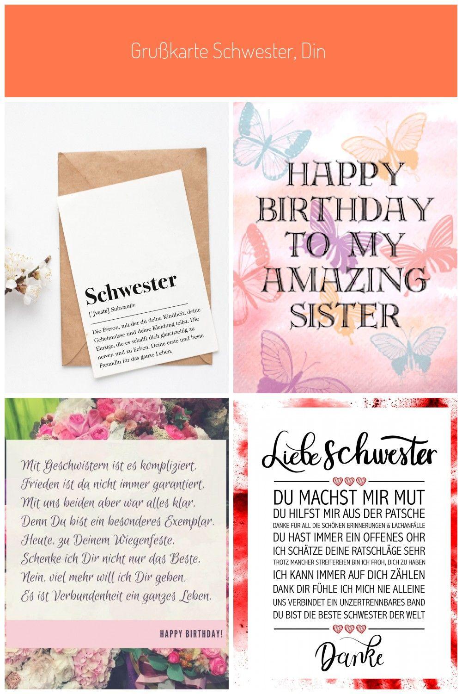 Grusskarte Schwester Din A6 Karte Mit Umschlag Kraftpapier