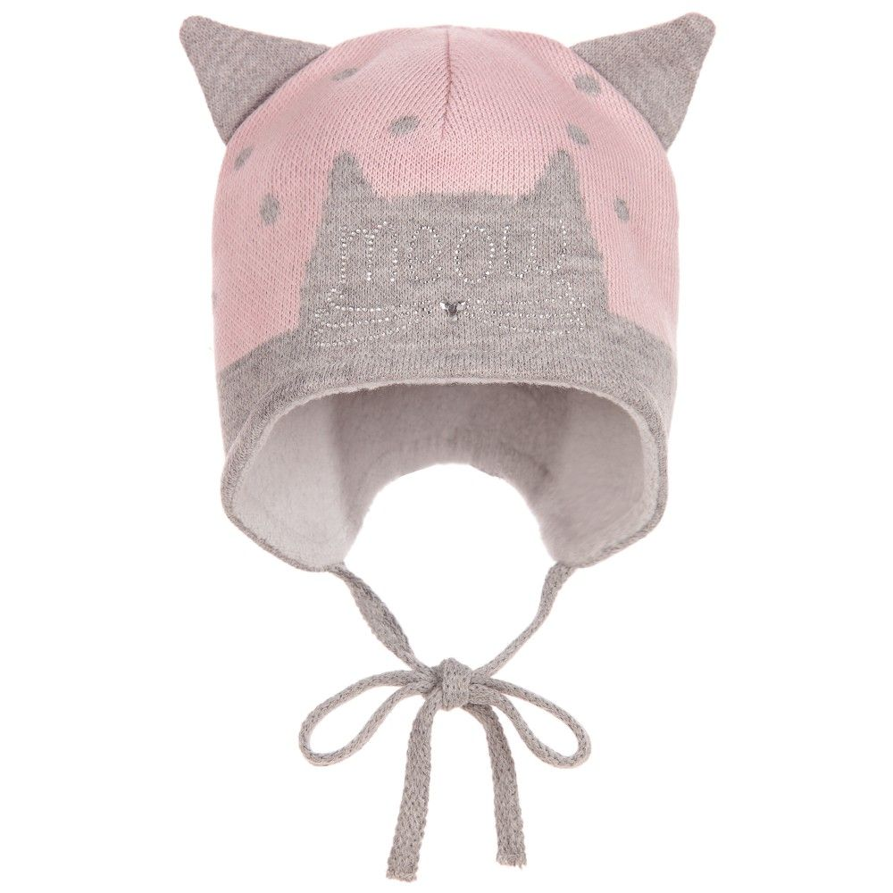 274469dfb0c Jamiks - Baby Girls Pink   Grey Knitted Cat Hat