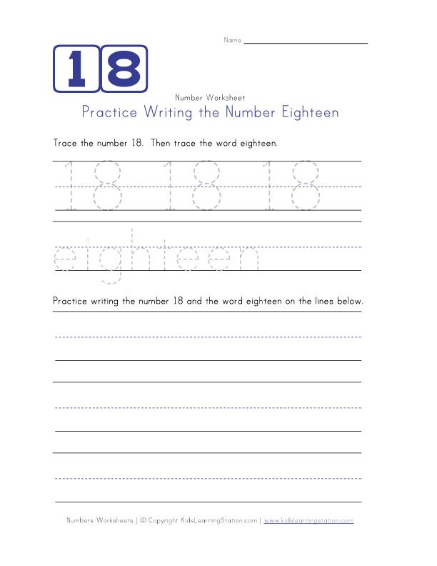 Practice Writing The Number Eighteen Number Worksheets Writing Numbers Writing Practice Number Worksheets