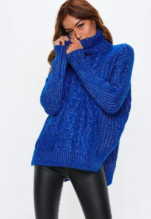 9c84fa603c10a Missguided Blue Oversized Turtle Neck Cable Knit Sweater | color pop ...