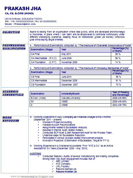resume sample of a chartered accountant company secretary in india