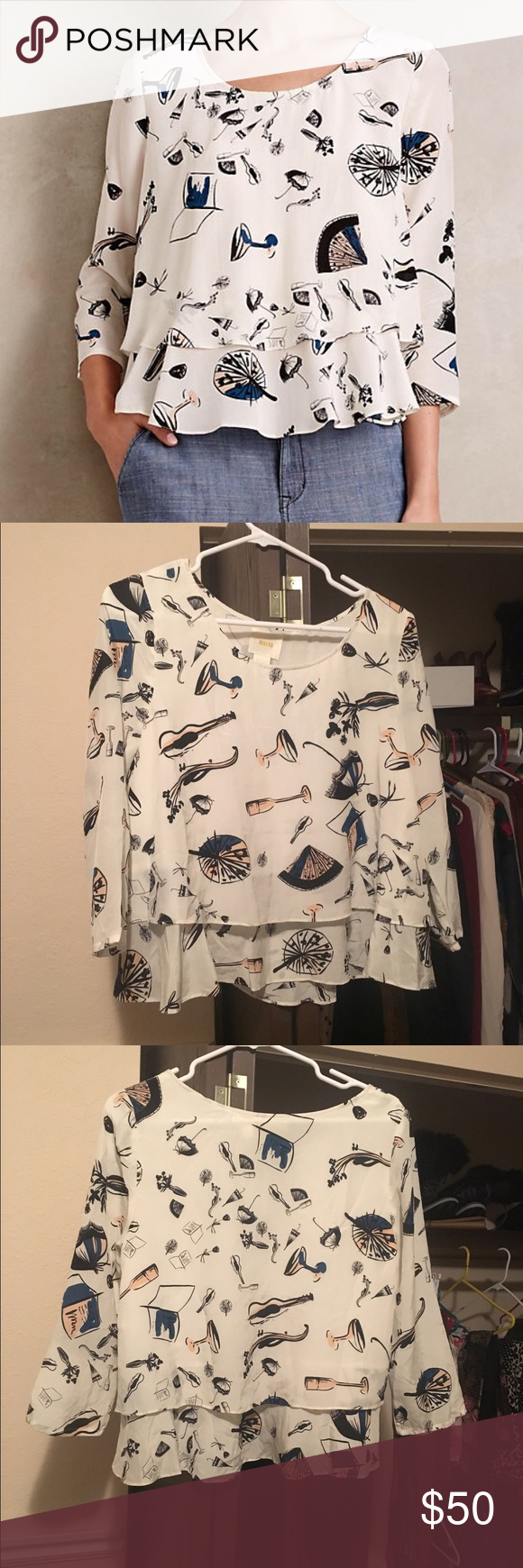 Maeve on the town swing top Maeve by anthropologie - on the town swing top - no longer available in store. Size 8 can fit a 6 also. Rare and in perfect condition. Price firm Anthropologie Tops Blouses