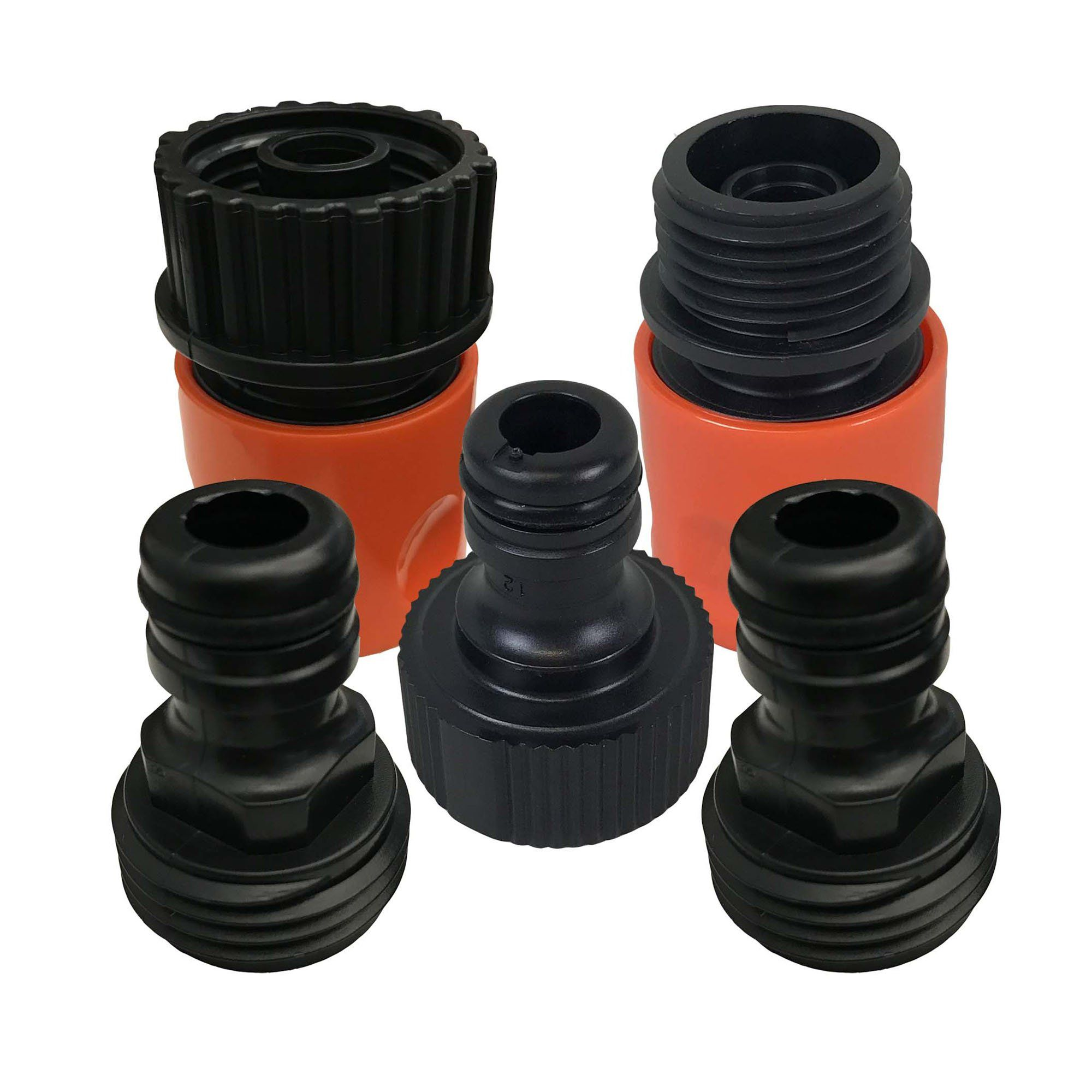 5PC Garden Hose Quick Connector Starter Set, Male & Female Adapters ...