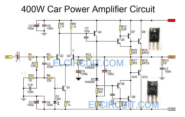 Circuit Of Audio Amplifier Using Transistor For Car Circuit Diagram