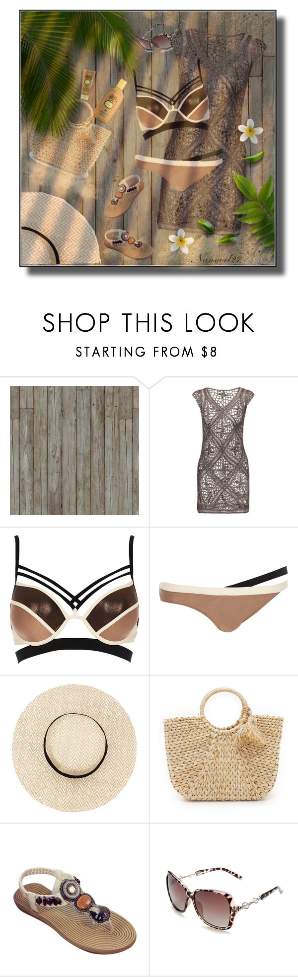 """""""Tan..."""" by nannerl27forever on Polyvore featuring Piet Hein Eek, River Island, Hat Attack and Sun Bum"""