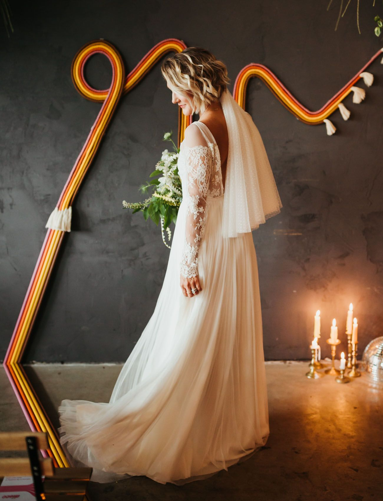 Sinspired boho wedding with a retro color palette wedding dress