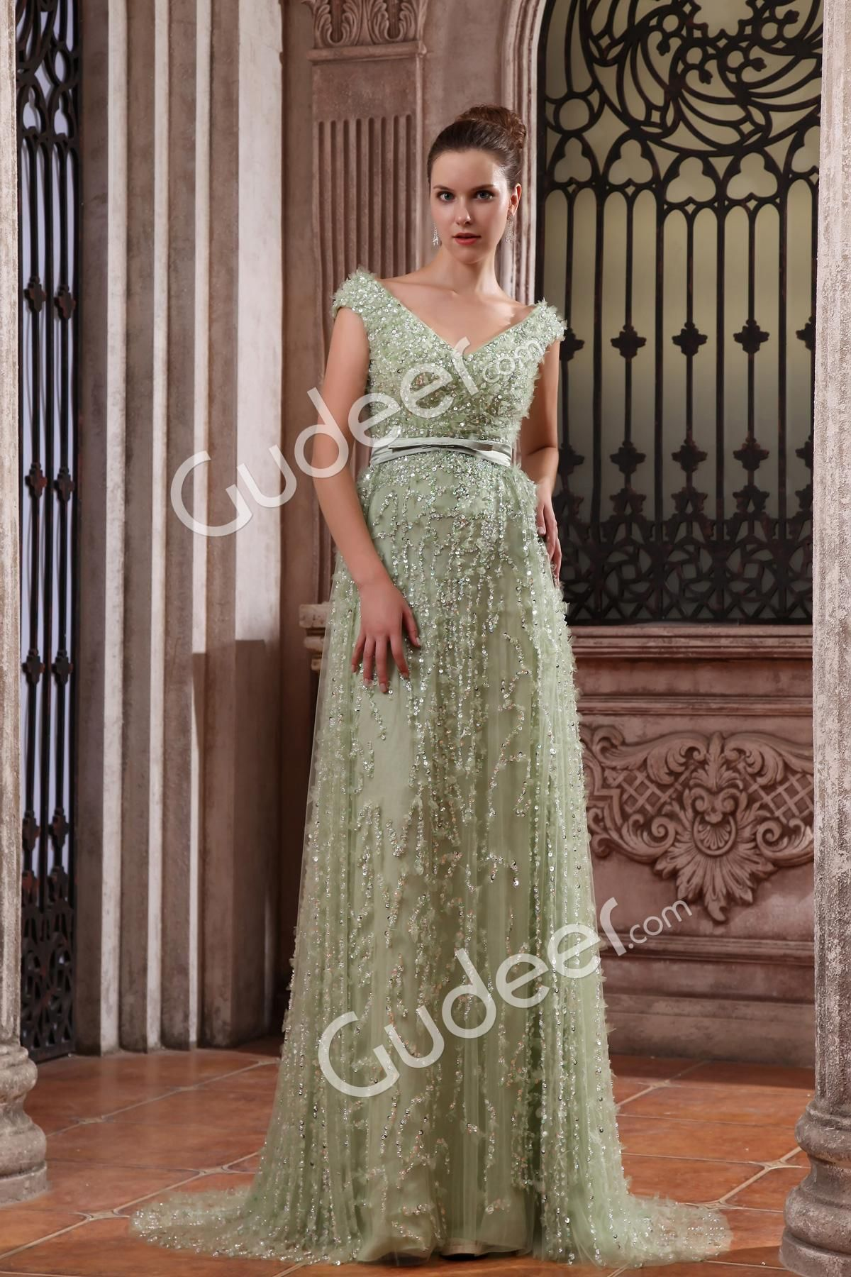 Sage luxury beaded chiffon sleeveless vneckline long evening gown