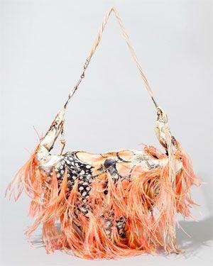Roberto Cavalli Silk & Feather Shoulder Bag