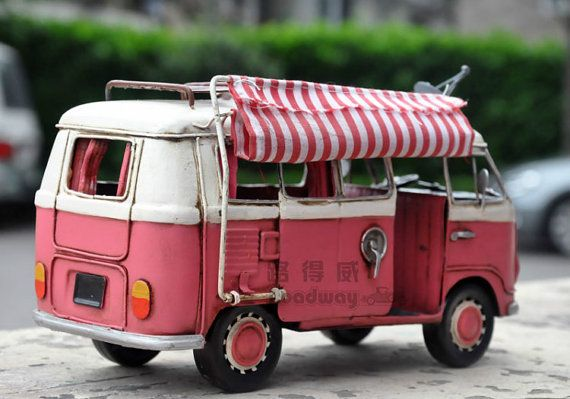 Miniature Retro Style Pink Volkswagen Trailer Car by SimpleSmart