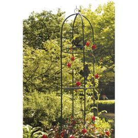 Colonne rosier tuteur de jardin en m tal arceau rose - Arceau de jardin pour plantes grimpantes ...