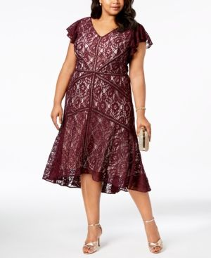 43066778864 Taylor Plus Size Lace Fit   Flare Dress - Red 22W