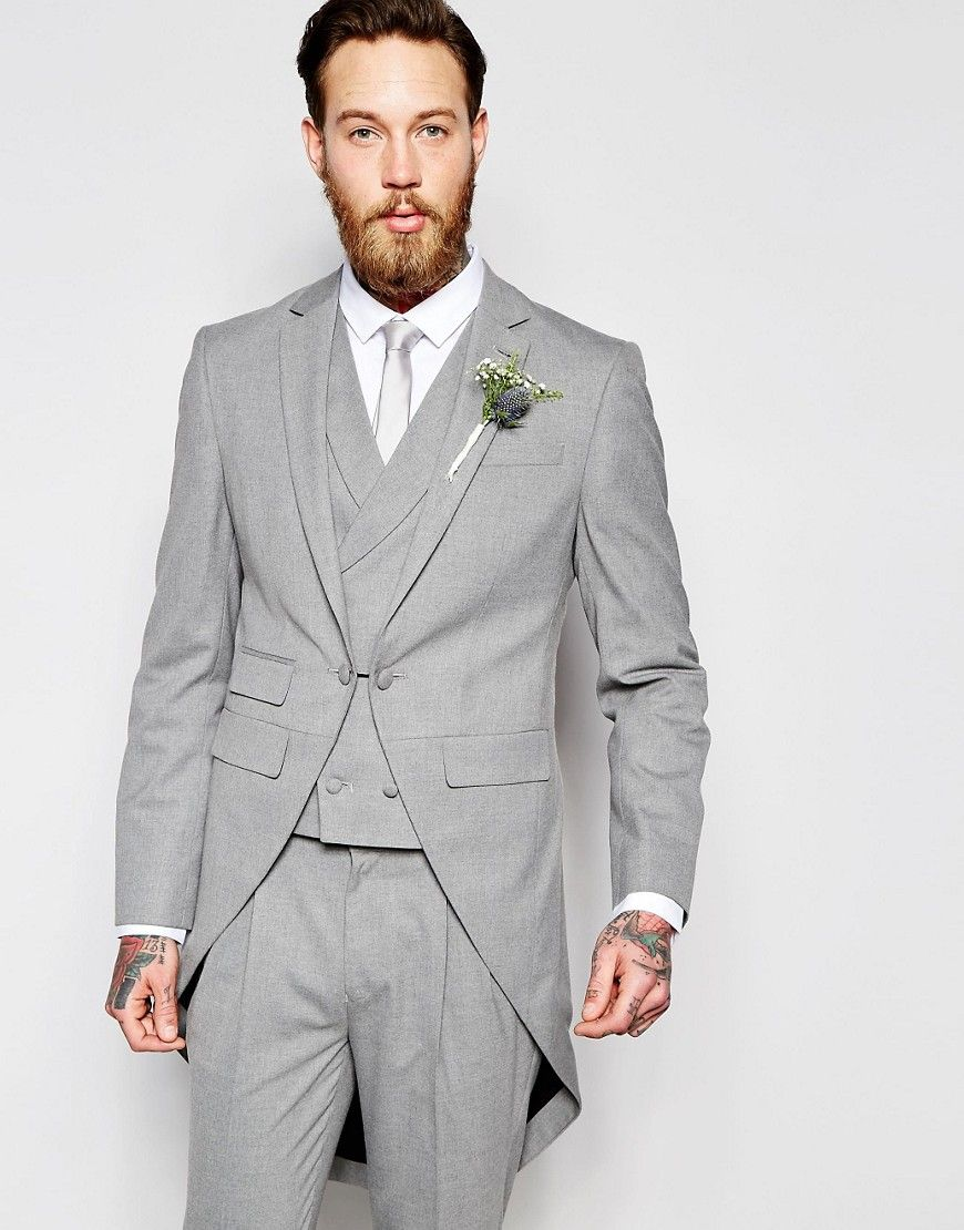 ASOS Wedding Skinny Morning Suit Jacket With Tails in Gray - Gray ...