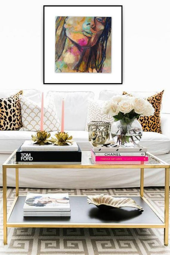 Abstract Wall Art, Woman with Gold face, Pink acce