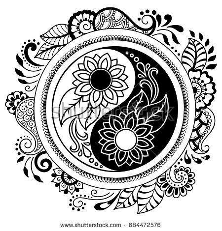 Circular Pattern In The Form Of A Mandala Yin Yang Decorative Symbol Mehndi Style Decorative Pattern I Mandala Coloring Pages Mandala Coloring Yin Yang Art
