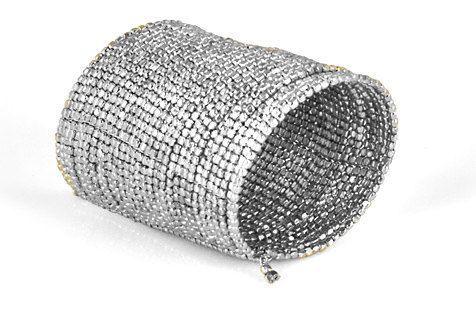 SILVER CUFF Braceletbeaded Cuff bracelet Long door taneesijewelry