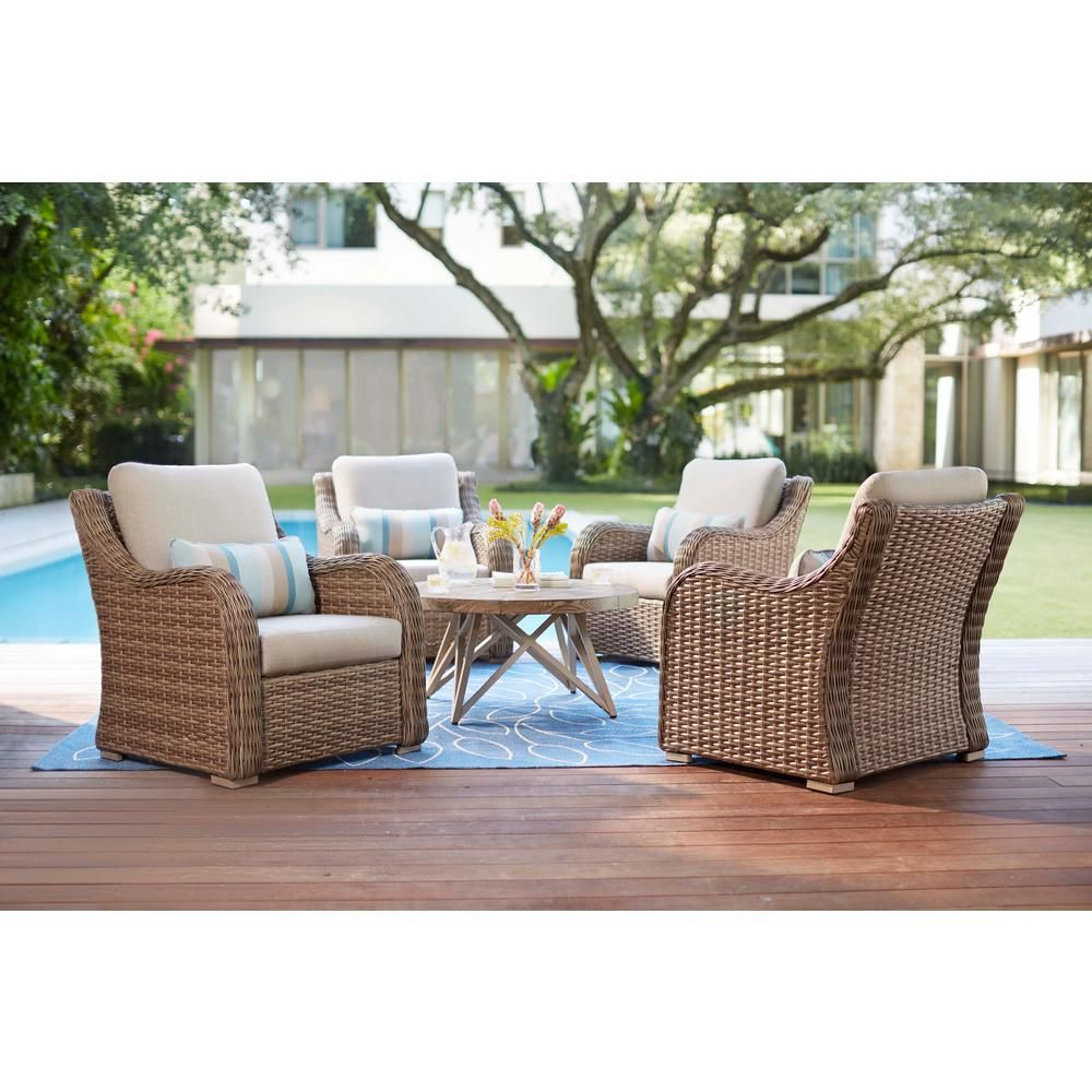 Home decorators collection gwendolyn 5 piece wicker patio deep seating set with sunbrella cast ash cushions