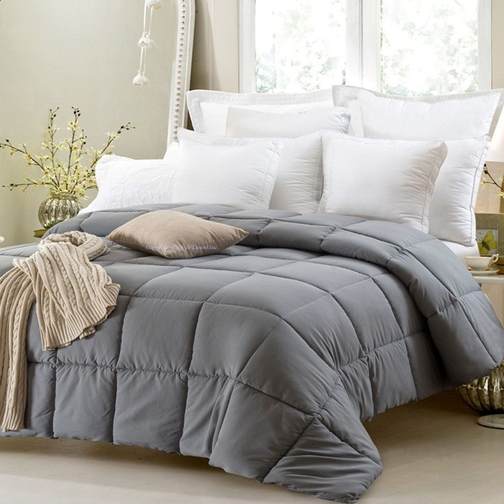 Super oversized high quality down alternative comforter fits pillow top beds grey comforters