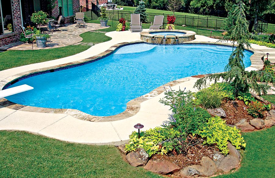 Free Form Pool Ideas Shapes And Pictures Blue Haven Pools Backyard Inground Inground Pool Landscaping Backyard Pool Landscaping
