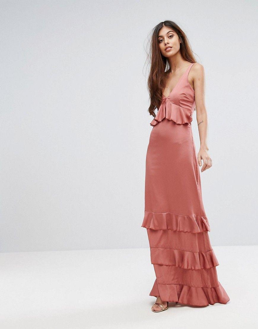 f8f4fc3311f Y.A.S Studio Ruffle Maxi Dress With Lace Inserts - Pink