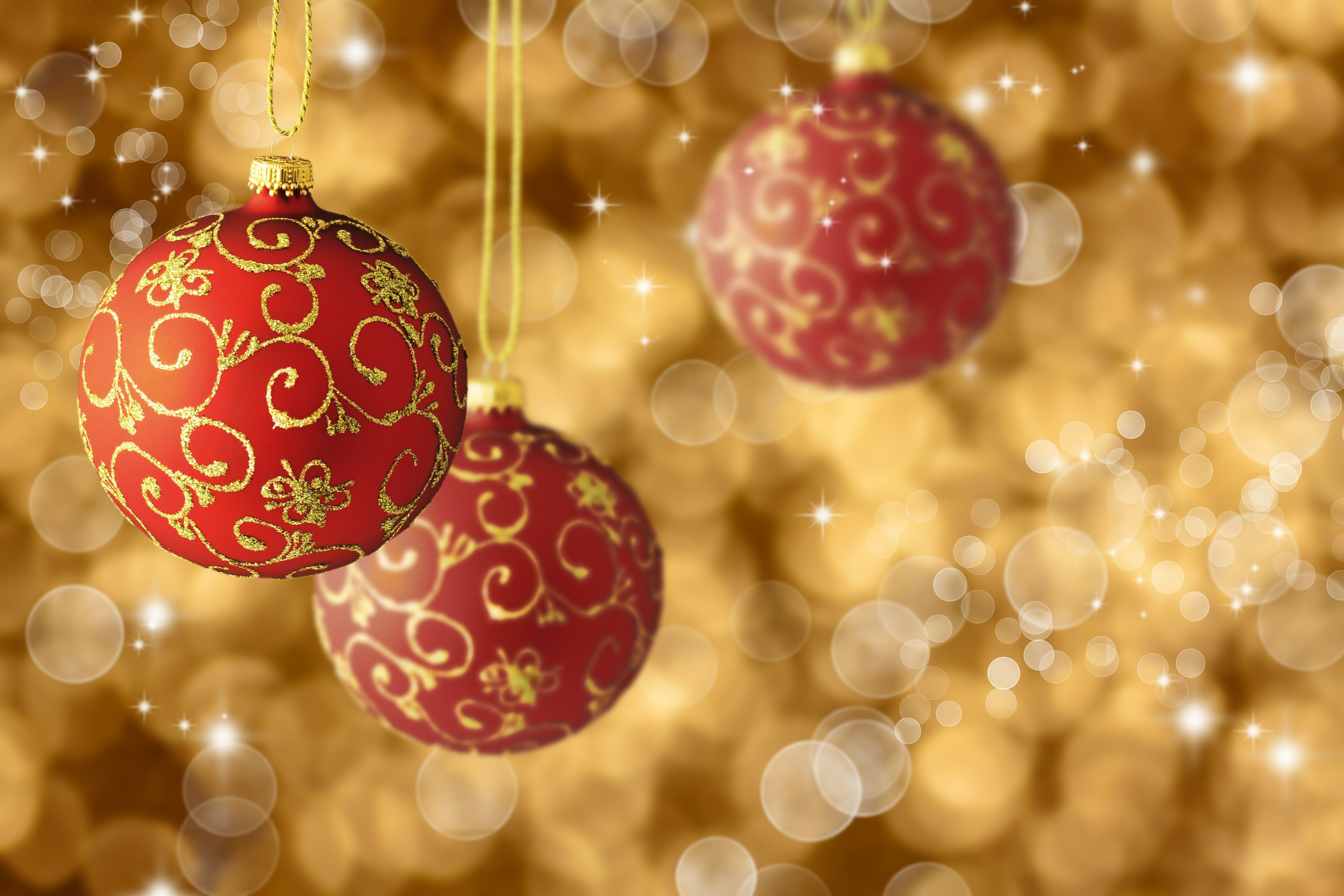 nice new year christmas holidays balls red gold patterns bokeh