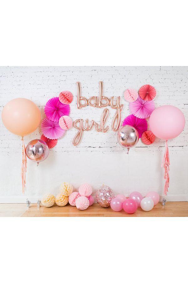 Baby Girl Balloons / Baby Shower Rose Gold Cursive Script Balloon ...