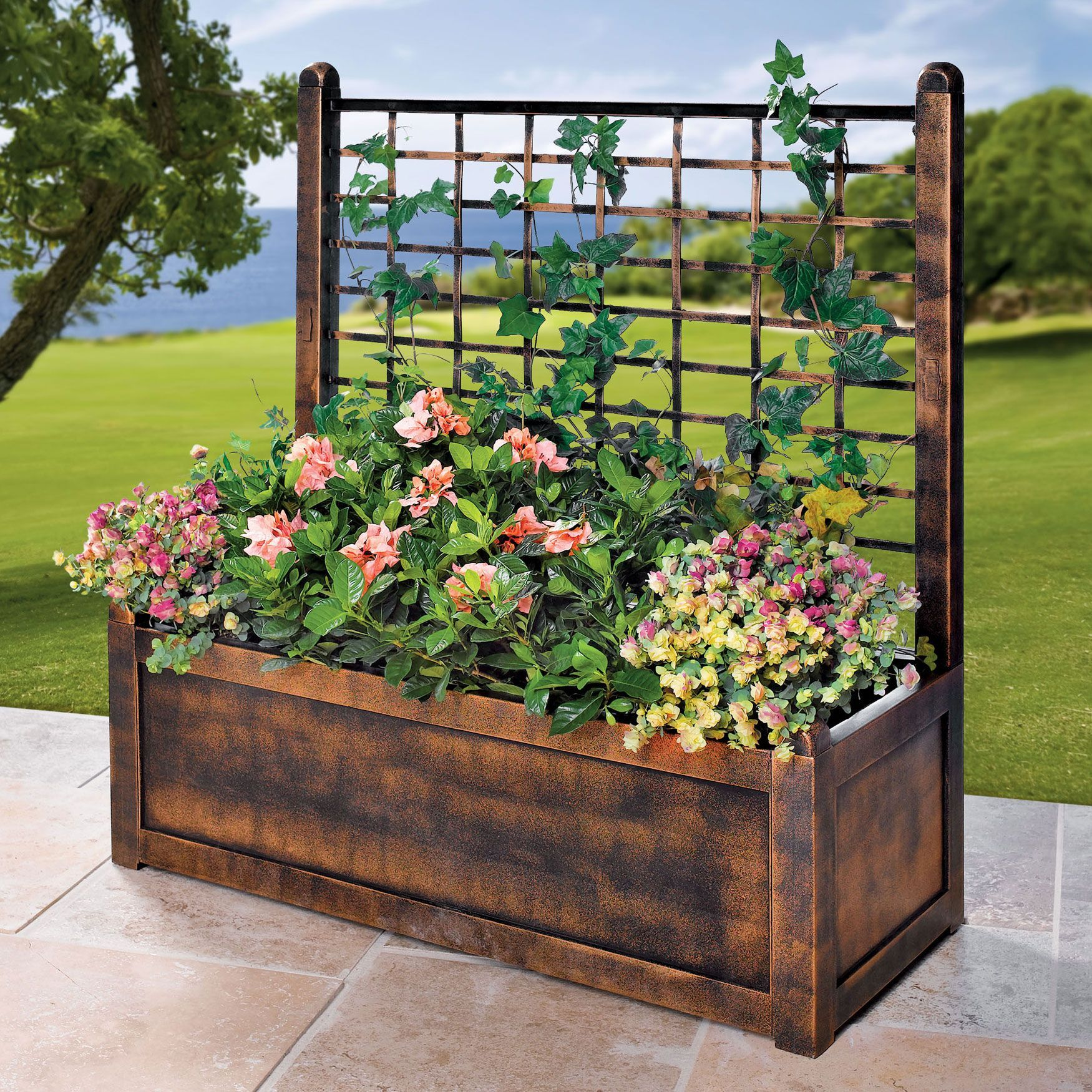 Flower box with trellis garden brylanehome garden
