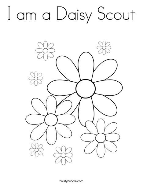 I am a Daisy Scout Coloring Page from TwistyNoodlecom  Girl