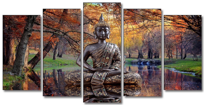 Cuadro de buda en paisaje de oto o zen lienzo 5 piezas for Cuadros modernos baratos online