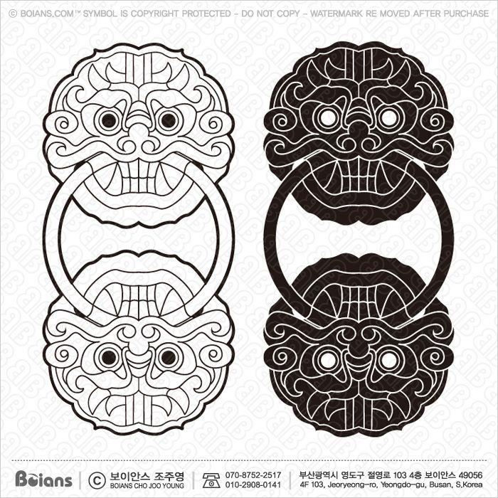 보이안스 벡터 한국전통 도깨비 무늬 시리즈. Sku: Korea000021