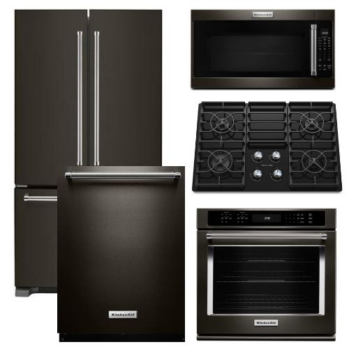 Package KB4   KitchenAid Appliance   5 Piece Built In Appliance Package  With Gas Cooktop   Black Stainless Steel