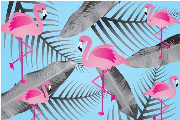 flamingo background vector by lyeyee on Creative Market