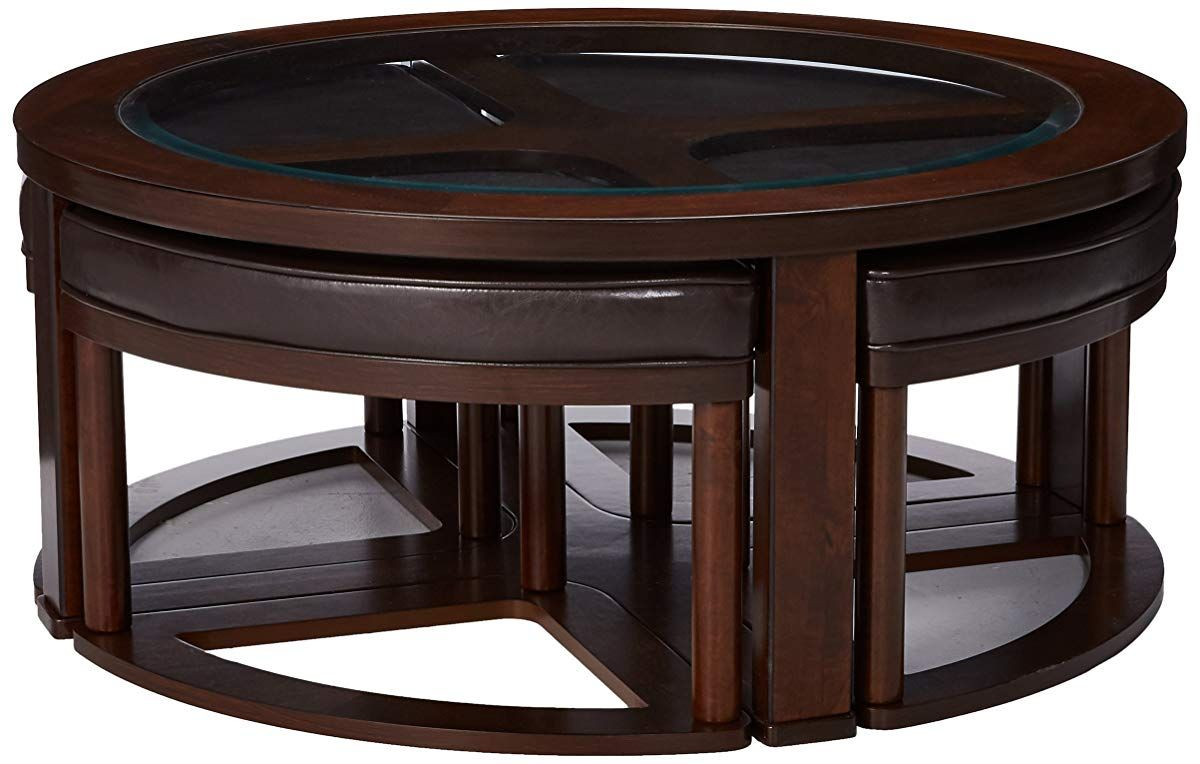 Coffee table coffee table with stools dark bown