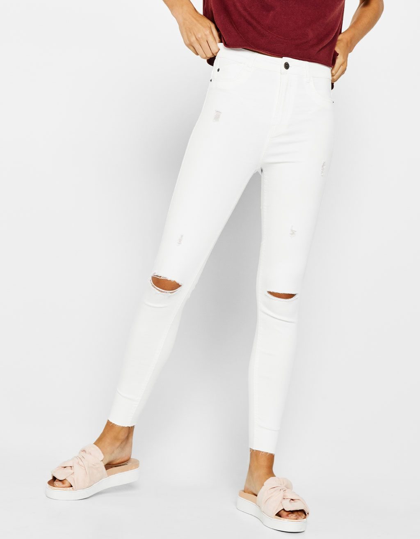Bershka United States Ripped High Waist Pants Clothes Lgs Slim Fit Ladies Shirt Blue White Plaid Biru Xxl