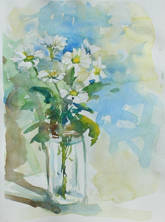 Watercolour Still Life Flowers Impressionist By Thecaitgallery