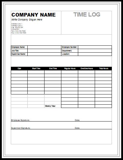 Time Log Templates 14 Free Printable Word Excel Pdf My Likes