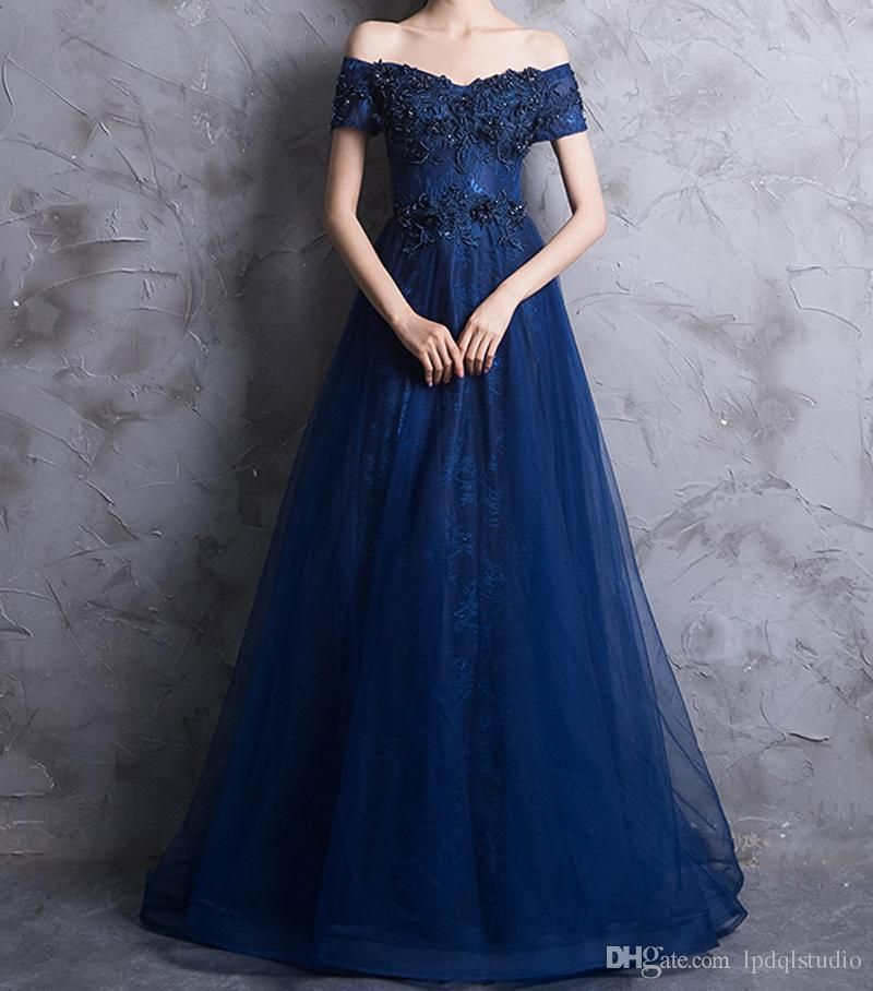7756642c51d Sexy Royal Blue Prom Dress Off Shoulder Lace Evening Dress Sweep Train  Pleats Tulle Applique with