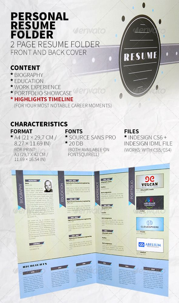 Personal Resume Folder #GraphicRiver One sheet, two pages, front and