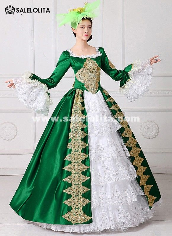 bb720421ea4d 2017 Royal Green Embroidery 18th Century Costume Renaissance Civil War  Southern Belle Dress Marie Antoinette Theatrical Costume