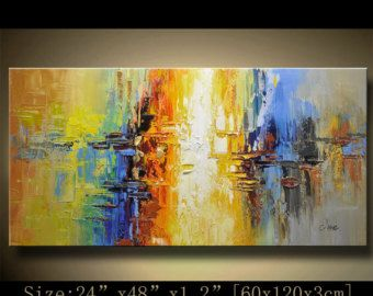 Abstract Large ORIGINAL Painting Modern Textured Palette Knife Home Wall Art Decor Acrylic On Canvas By Chen 1104