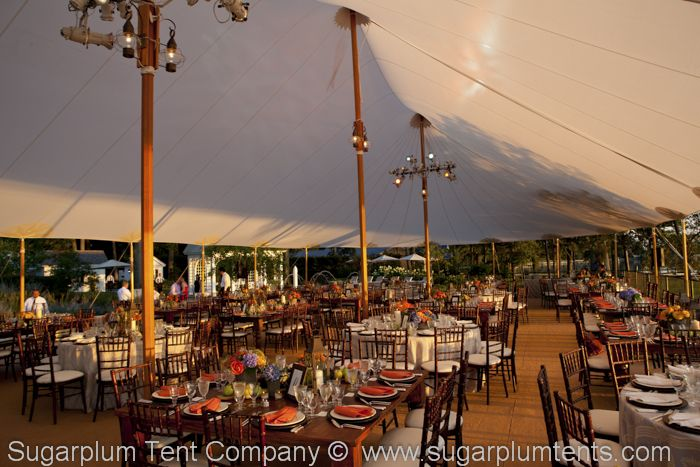 Interior shot of Sailcloth Tent.  With the rich wooden poles and accenting, these tents evoke the great seafaring traditions of Maryland (and Virginia's) Chesapeake Bay areas.