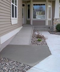 Beautiful And Modest Wheelchair Ramp Design Needs Some Curbing Though.