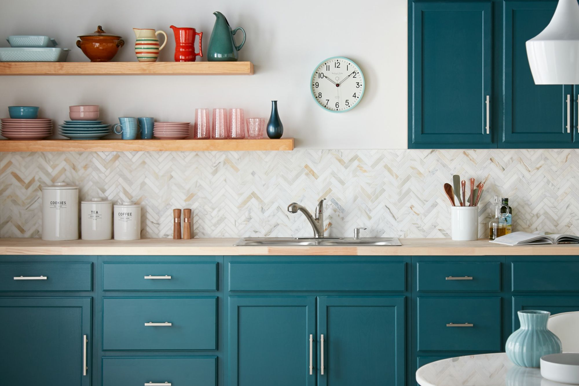Colorful Kitchen Cabinet Transformation | Teal kitchen ...